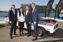 NSW Premier Mike Baird, V8 Supercars CEO James Warburton and Renee Gracie