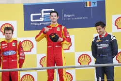 Podium: second place Jordan King and winner Alexander Rossi, Racing Engineering and third place Mitch Evans, RUSSIAN TIME