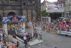 Podium: winners Sébastien Ogier and Julien Ingrassia, Volkswagen Polo WRC, Volkswagen Motorsport, second place Jari-Matti Latvala and Miikka Anttila, Volkswagen Polo WRC, Volkswagen Motorsport, third place Andreas Mikkelsen and Ola Floene, Volkswagen Polo
