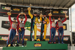 Podium: Race winners #13 Rum Bum Racing Porsche 911: Matt Plumb, Hugh Plumb, second place #9 Stevenson Motorsports Chevrolet Camaro Z/28.R: Lawson Aschenbach, Matt Bell and third place#6 Stevenson Motorsports Chevrolet Comaro Z/28.R: Andrew Davis, Robin Liddell