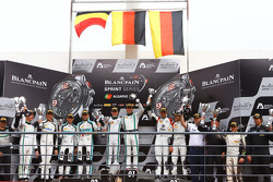 Qualifying race podium: winners Maximilian Buhk, Vincent Abril, second place Laurens Vanthoor, Robin Frijns, third place #6 Phoenix Racing Audi R8 LMS: Markus Winkelhock, Niki Mayr-Melnhof