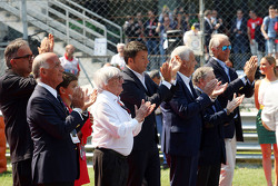 Dr Angelo Sticchi Damiani, Aci Csai President, Sergio Marchionne, Ferrari President and CEO of Fiat Chrysler Automobiles, Bernie Ecclestone, Matteo Renzi, Italian Prime Minister, Gian Luca Galletti, Minister, Jean Todt, FIA President