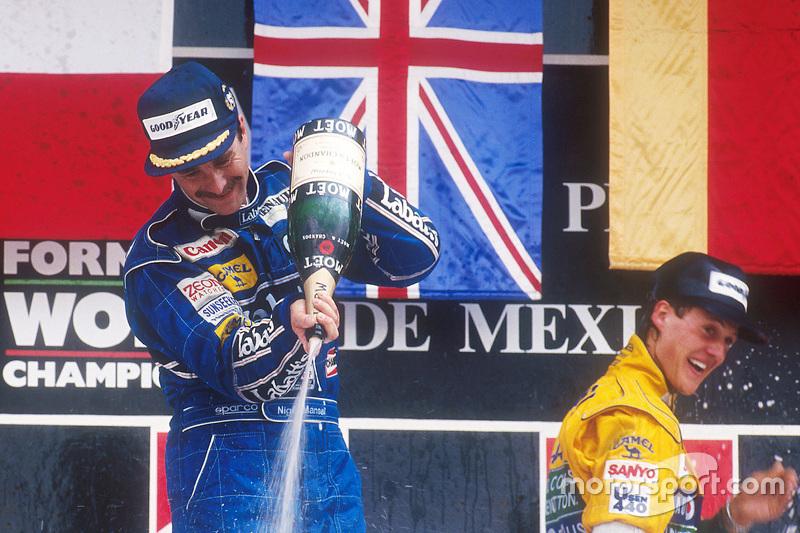 Podium: race winner Nigel Mansell, third place Michael Schumacher