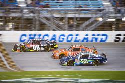 Chris Buescher, Roush Fenway Racing Ford and Daniel Suarez, Joe Gibbs Racing Toyota and Kasey Kahne, JR Motorsports Chevrolet