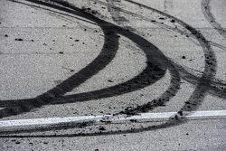 Burnout residue from winner Denny Hamlin, Joe Gibbs Racing Toyota