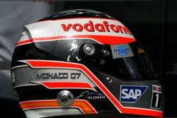 Helmet of Fernando Alonso, McLaren Mercedes, with Steinmetz Diamonds