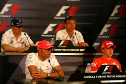FIA press conference: Kimi Raikkonen, Scuderia Ferrari, Lewis Hamilton, McLaren Mercedes, David Coulthard, Red Bull Racing and Robert Kubica,  BMW Sauber F1 Team
