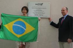 Plaque for Monaco Senna Celebration, Vivian Senna, and Prince Albert II of Monaco