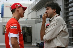 Michael Schumacher, Scuderia Ferrari, Advisor and Pasquale Lattuneddu, FOM, Formula One Management