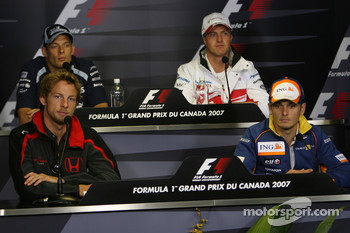 Alexander Wurz, Williams F1 Team, Ralf Schumacher, Toyota Racing, Jenson Button, Honda Racing F1 Team and Giancarlo Fisichella, Renault F1 Team