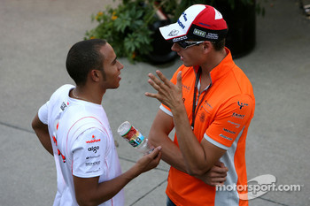 Lewis Hamilton, McLaren Mercedes and Adrian Sutil, Spyker F1 Team