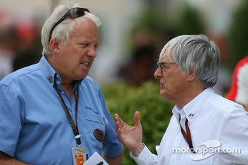 Charlie Whiting, FIA Safty delegate, Race director & offical starter and Bernie Ecclestone
