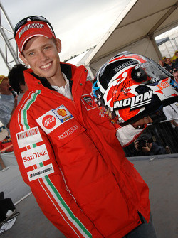 Casey Stoner shows off his helmet