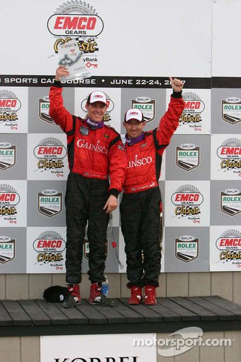 Podium: Jon Fogarty and Alex Gurney celebrate their win