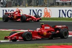Kimi Raikkonen, Scuderia Ferrari, F2007 and Felipe Massa, Scuderia Ferrari, F2007