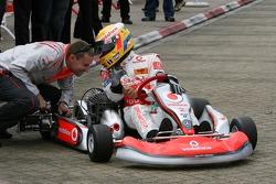 Lewis Hamilton, McLaren Mercedes with young British Katers, Daytona Kart Centre, Milton Keynes