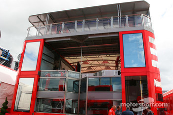 The Scuderia Ferrari Motorhome is constructed
