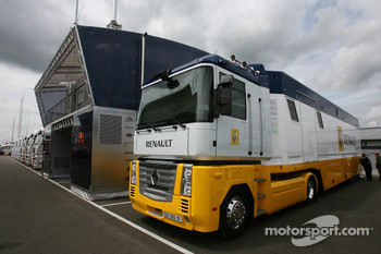 Renault Truck next to Red Bull Racing