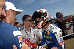 Marco Melandri celebrates third place qualifying