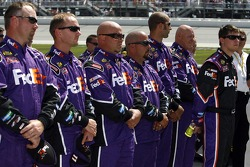 Denny Hamlin and the FedEx Chevy crew during the National Anthem