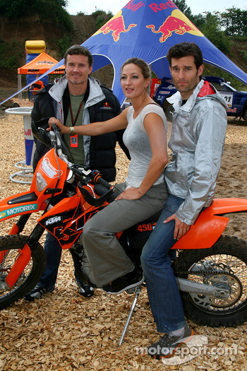 Zoe Bell Award winning Movie stunt double, with Mark Webber, Red Bull Racing and David Coulthard, Red Bull Racing