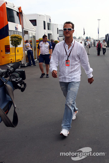 Michael Schumacher, Scuderia Ferrari, Advisor arrives at the track on begin of the first training session
