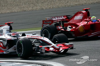 Fernando Alonso, McLaren Mercedes, MP4-22 and Felipe Massa, Scuderia Ferrari, F2007