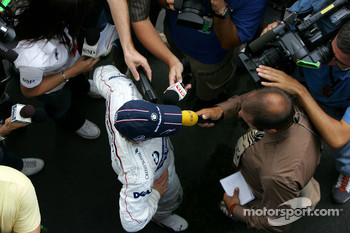 Nick Heidfeld, BMW Sauber F1 Team, is interviewed by journalists