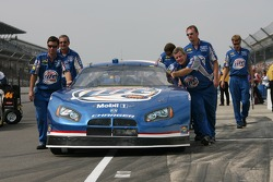 The Miller Lite Dodge is pushed to qualifying line