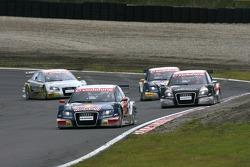 Mattias Ekström, Audi Sport Team Abt Sportsline, Audi A4 DTM, leads Timo Scheider, Audi Sport Team Abt Sportsline, Audi A4 DTM, Martin Tomczyk, Audi Sport Team Abt Sportsline, Audi A4 DTM and Alexandre Premat, Audi Sport Team Phoenix, Audi A4 DTM