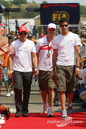 Fernando Alonso, McLaren Mercedes, Ralf Schumacher, Toyota Racing and Mark Webber, Red Bull Racing