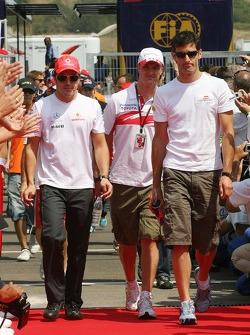 Fernando Alonso, McLaren Mercedes, Ralf Schumacher, Toyota Racing and Mark Webber, Red Bull Racing