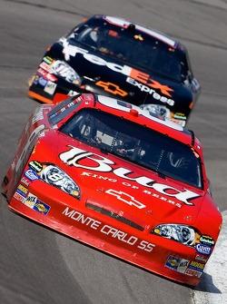 Dale Earnhardt Jr. leads Denny Hamlin
