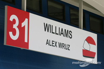 Pit garage sign of Alexander Wurz, Williams F1 Team, spelt incorrectly