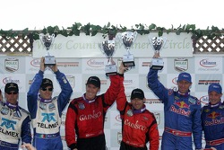 Podium: race winners Jon Fogarty and Alex Gurney, second place David Donohue and Darren Law, third place Scott Pruett and Memo Rojas