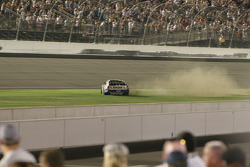 Race winner Jimmie Johnson does a burnout
