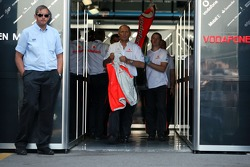 Ron Dennis, McLaren, Team Principal, Chairman  walks out of the garage