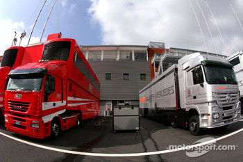 Scuderia Ferrari and McLaren Mercedes trucks