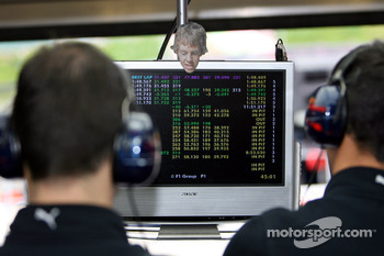A sticker of Sebastian Vettel, Scuderia Toro Rosso on the the timing screens in the garage