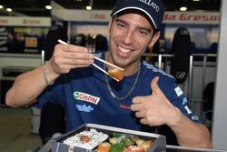 Marco Melandri tries sushi