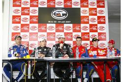 Post-qualifying press conference: Karl Wendlinger, GT1 pole winners Michael Bartels and Thomas Biagi, GT2 pole winners Toni Vilander and Dirk Muller