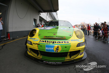 The winning Manthey Racing Porsche 911 GT3 RSR in parc ferm