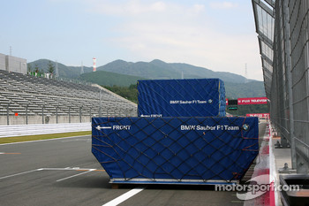 BMW Sauber F1 Team Containers on the track