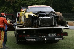 The wrecked #3 Corvette Racing Corvette C6-R after the crash of Jan Magnussen