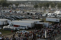 Talladega fans leave the track after the race