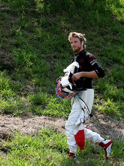 Jenson Button, Honda Racing F1 Team, after retiring from the race