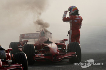 Marc Gene cooks the engine in the Ferrari F2007 after performing donuts