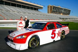 Dale Earnhardt Jr. and team owner Rick Hendrick pose with the #5 Hendricks Motorsports car