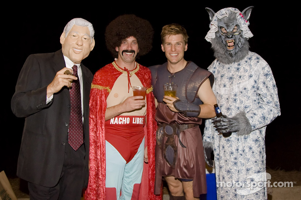 Matt Kenseth, Greg Biffle, Jamie McMurray, and Kurt Busch enjoy halloween in Mooresville, NC