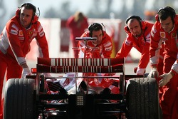 Felipe Massa, Scuderia Ferrari, car is pushed back to the garage after stopping at the pit exit